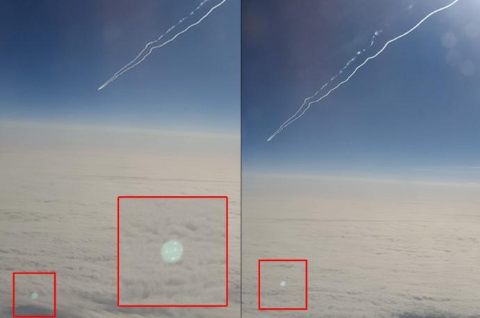 Фотография НЛО над облаками