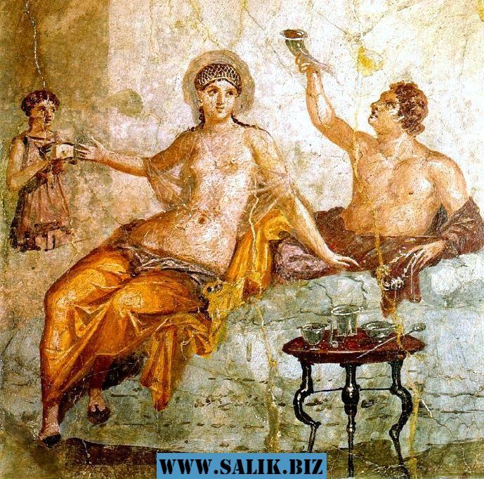 Сцена застолья, Фреска из Помпеи, I век н. э.