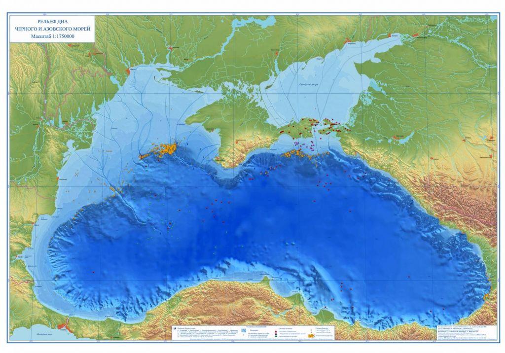 Черное море с руслами палеорек.