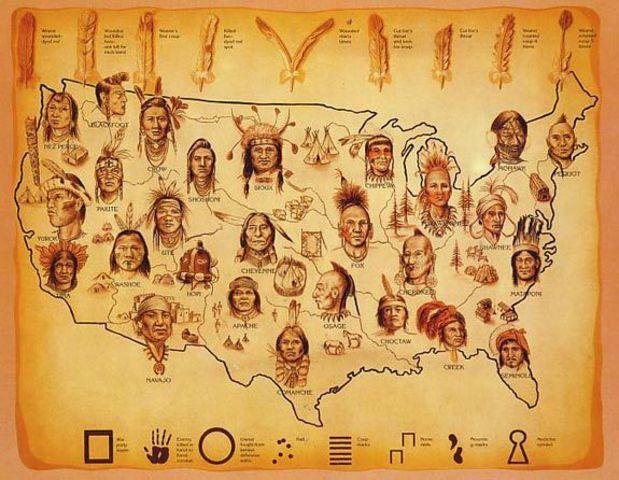 Карта расселения индейцев по территории США.