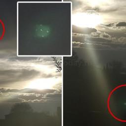 Фотография зелёного НЛО