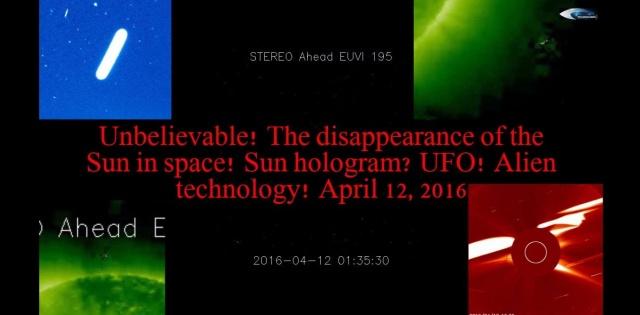 НЛО у Солнца 12 апреля 2016