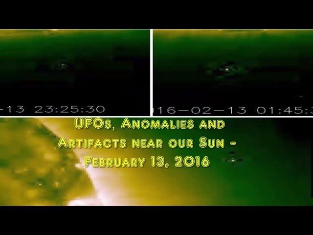 НЛО у Солнца 13 февраля 2016
