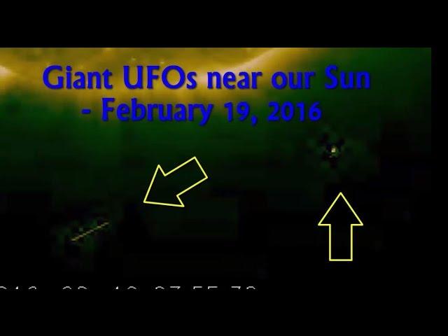 НЛО у Солнца 19 февраля 2016