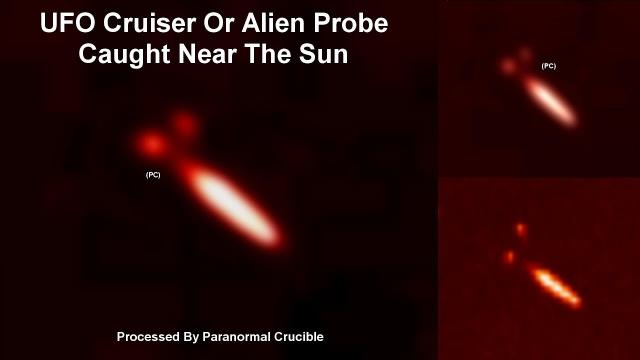 НЛО, похожий на «Энтерпрайз» возле солнца