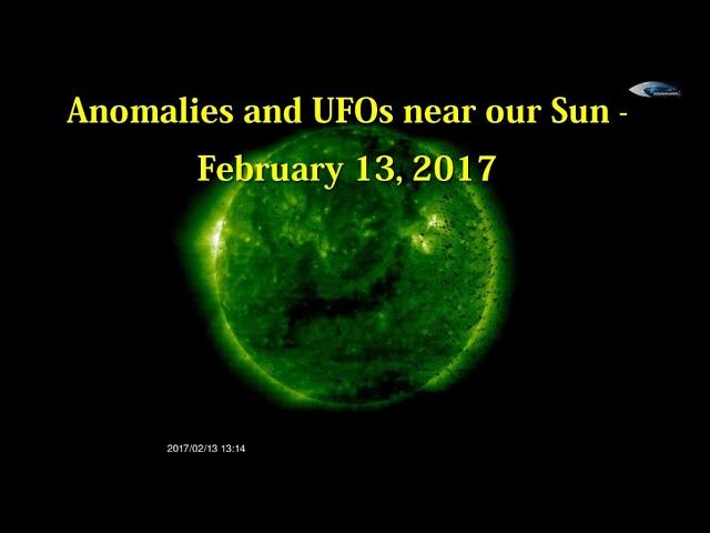 НЛО у Солнца 13 февраля 2017