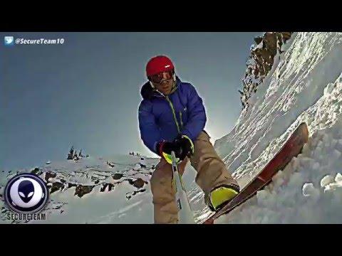 Кадры НЛО над сноубордистом
