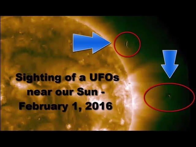 Видео НЛО рядом с Солнцем 1 февраля 2016