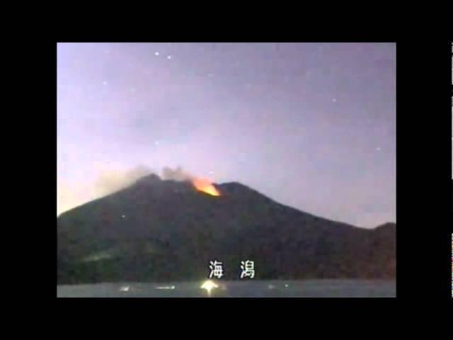 Огненные шары роятся над вулканом.