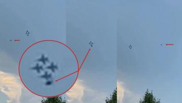 Чрезвычайно быстрый НЛО пролетел мимо истребителей