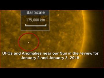 НЛО у Солнца 2 и 3 января 2018