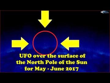 НЛО над поверхностью северного полюса Солнца за май - июнь 2017