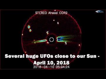 НЛО у Солнца 10 апреля 2018