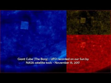 Гигантский кубический НЛО у Солнца 15 ноября 2017